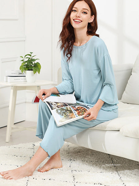 Drop Shoulder Solid Tee & Pants PJ Set