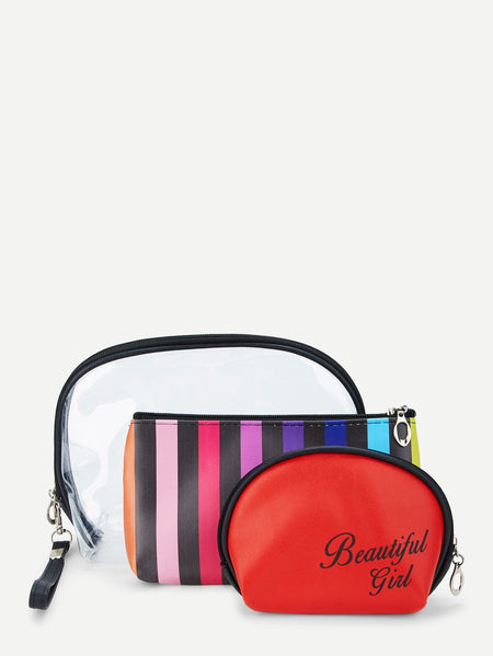 Striped Makeup Bag 3pcs