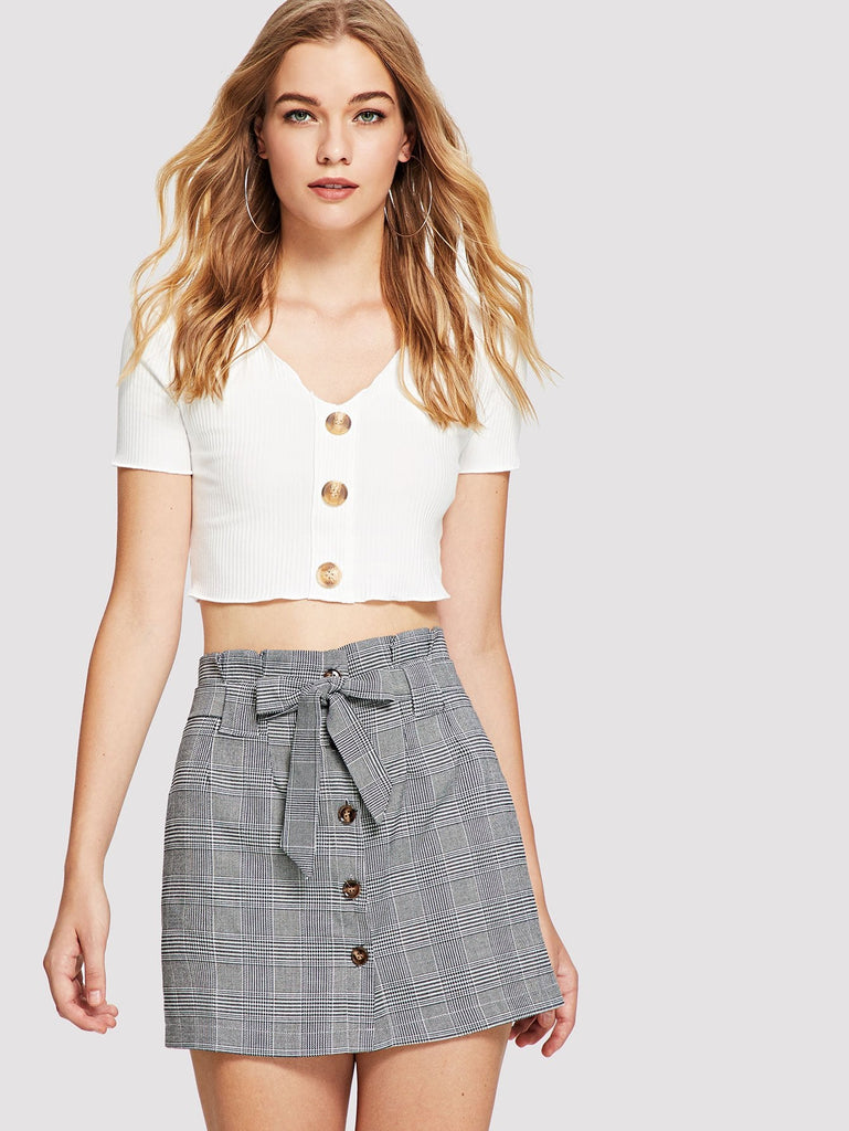 Single Breasted Self Tie Waist Checked Skirt
