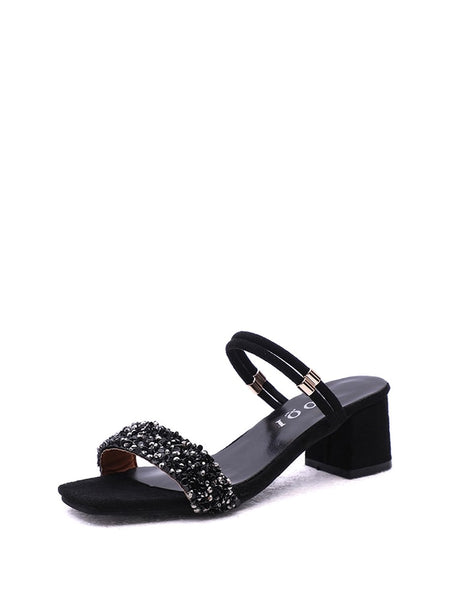 Glitter Block Heeled Convertible Sandals