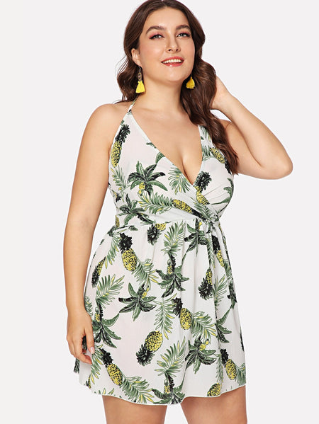 Plus Tropical Print Knot Back Halter Dress