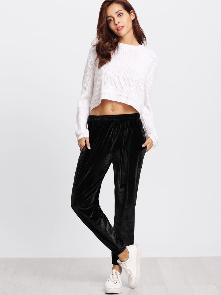 Striped Elastic Waist Velvet Pants