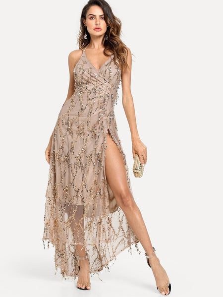 Mesh Overlay Surplice Halter Split Sequin Dress