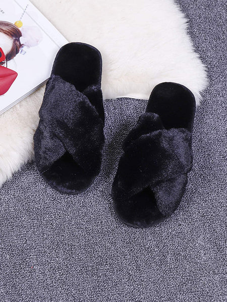 Criss Cross Fluffy Slippers