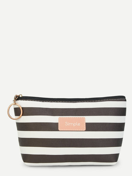 Striped Zipper Makeup Bag