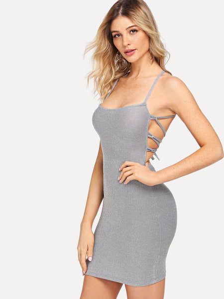 Lace Up Back Glitter Cami Dress
