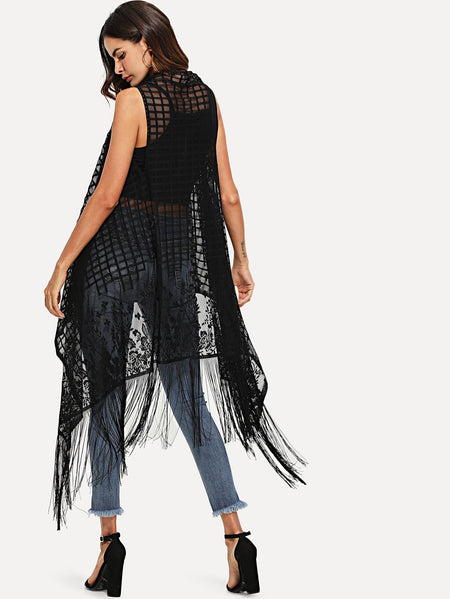 Fringe Detail See Through Plaid Kimono