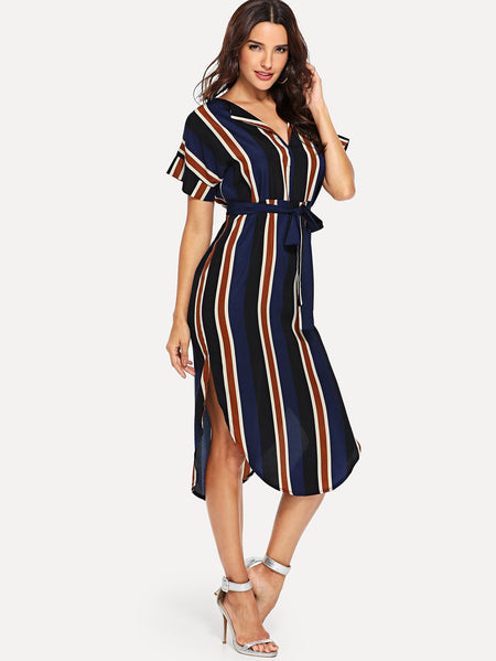 Block-Stripe Curved Hem Shirt Dress