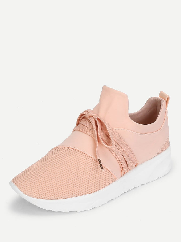 Net Design Lace Up Sneakers