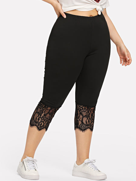Plus Lace Contrast Leggings