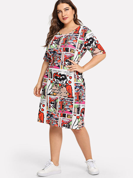 Plus All Over Comic Print Dress