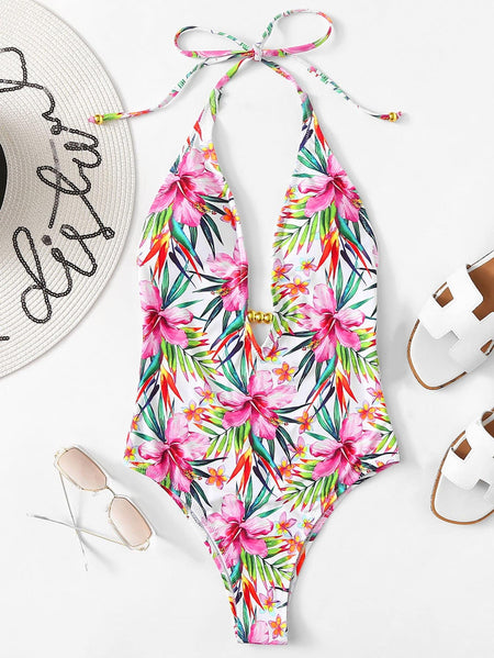 Floral Open Back Halter One Piece Monokini