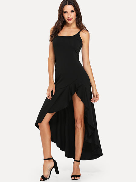 Asymmetric Ruffle Hem Cami Dress