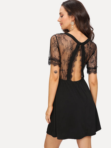 Lace Open Back Flare Dress