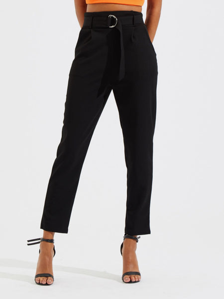 Belted High Waist Peg Leg Utility Pants