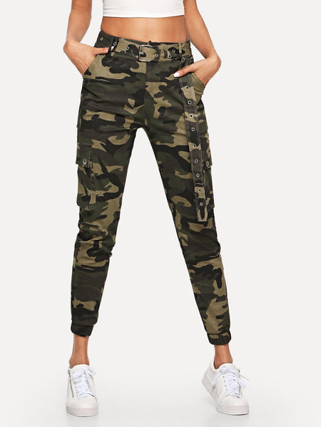 Camo Pocket Belted Pants
