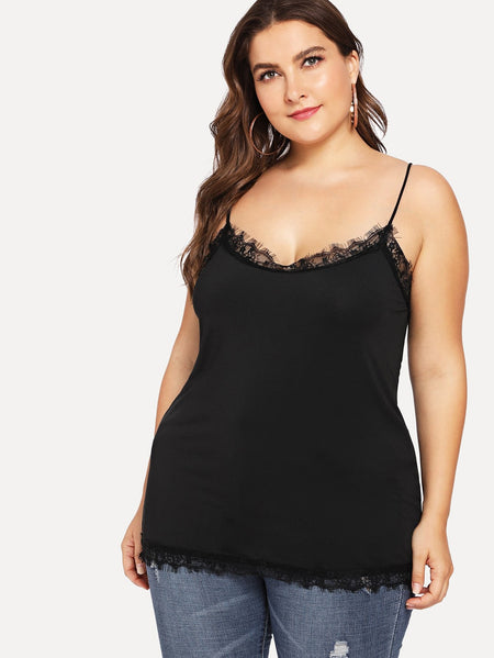 Plus Contrast Eyelash Lace Cami Top