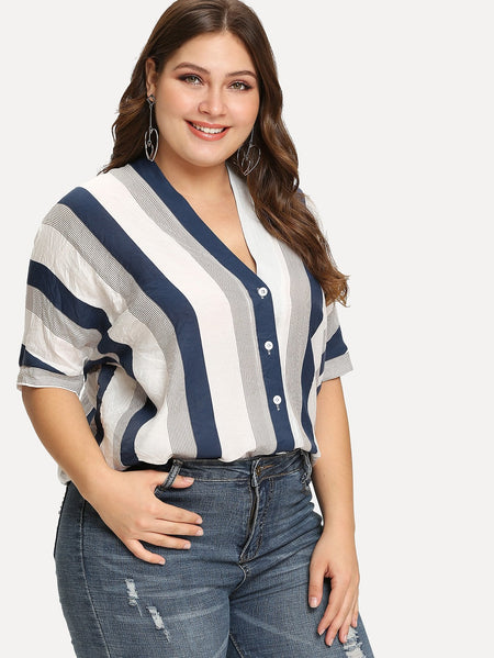 Plus Single Breasted Striped Blouse