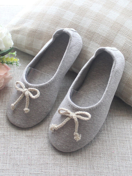 Bow Decor Ribbed Detail Slippers