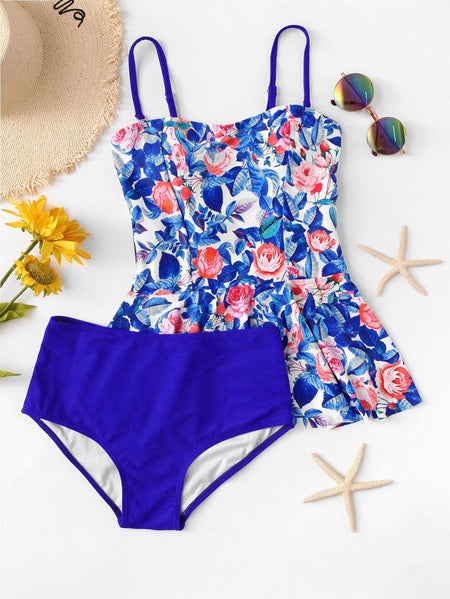 Floral Print Mix & Match Tankini Set
