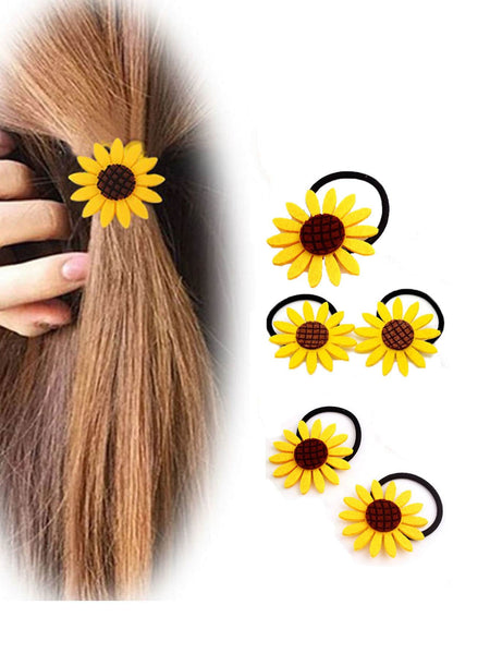 Sun Flower Decorated Hair Tie 5pcs
