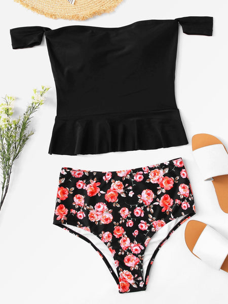 Bardot Ruffle Top With Floral Panty Tankini Set