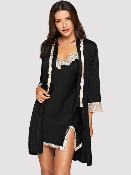 Lace Trim Split Side Cami Dress With Robe