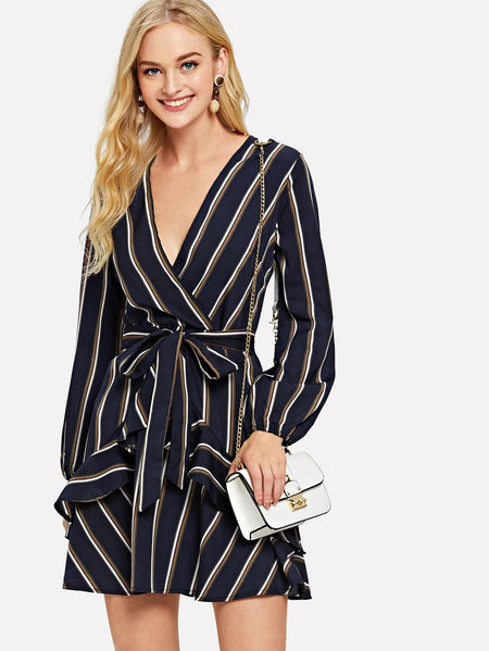 Ruffle Trim Self Tie Waist Striped Dress