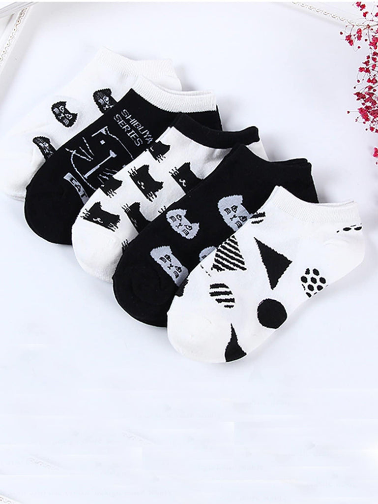 Animal Pattern Ankle Socks 5pairs