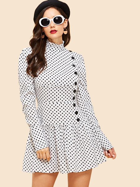 Single Breasted Polka Dot Dress