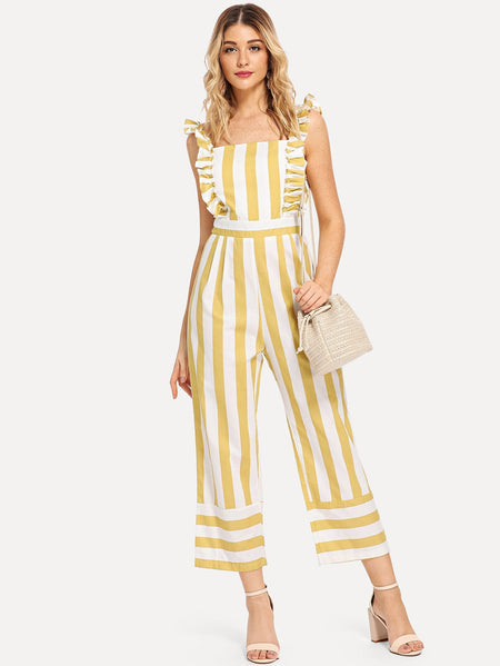 Frill Trim Striped Jumpsuit
