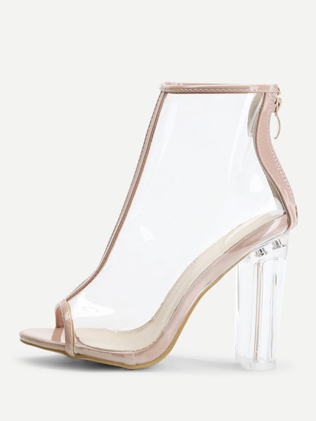 Zipper Back Contrast Trim Clear Heels