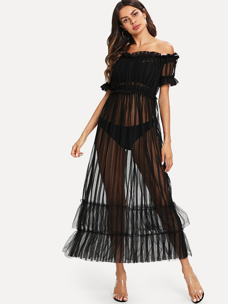 Frill Off The Shoulder Sheer Dress