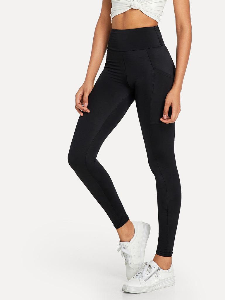 Elastic Waist Pocket Side Leggings