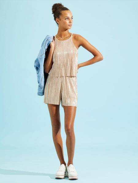 Solid Pleated Cami Top & Shorts Set