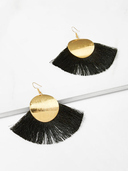 Disc Detail Tassel Drop Earrings 1pair