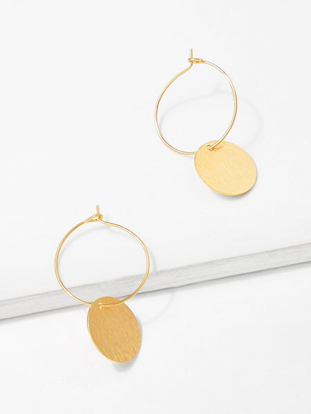 Disc Decorated Hoop Earrings 1pair