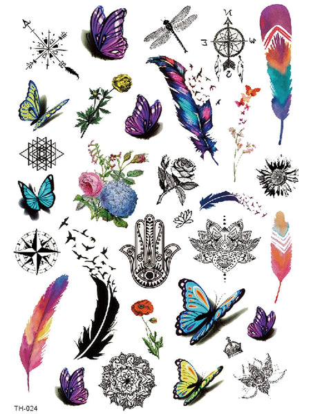 Feather & Butterfly Tattoo Sticker