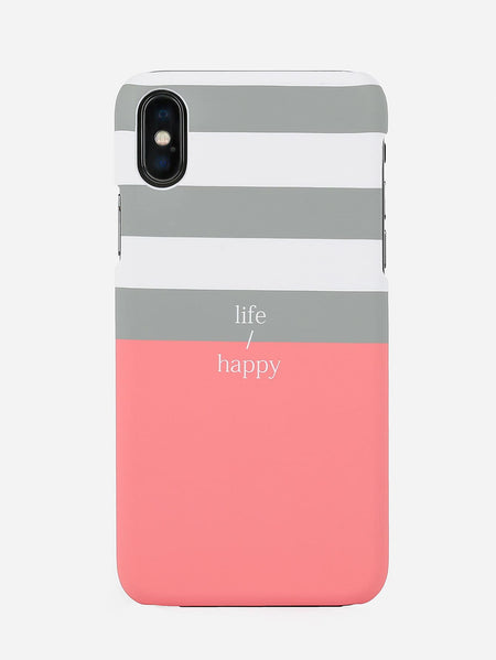 Striped & Letter Print iPhone Case