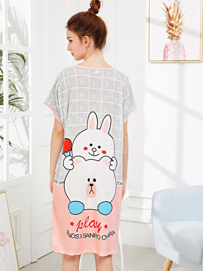 Cartoon Print Plaid Night Dress