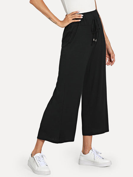 Solid Drawstring Waist Wide Leg Pants