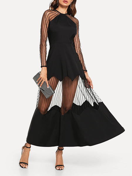Striped Mesh Maxi Flare Dress