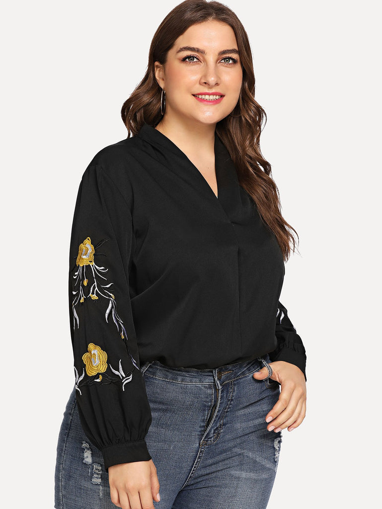 Plus Embroidered V Neck Blouse