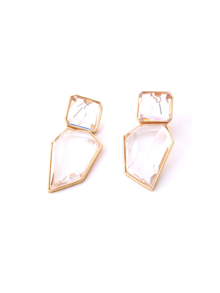 Geometric Shaped Gemstone Drop Earrings 1pair