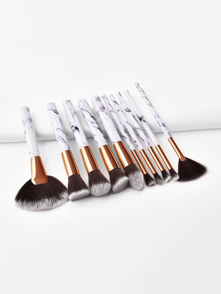 Marble Handle Makeup Brush 10pcs