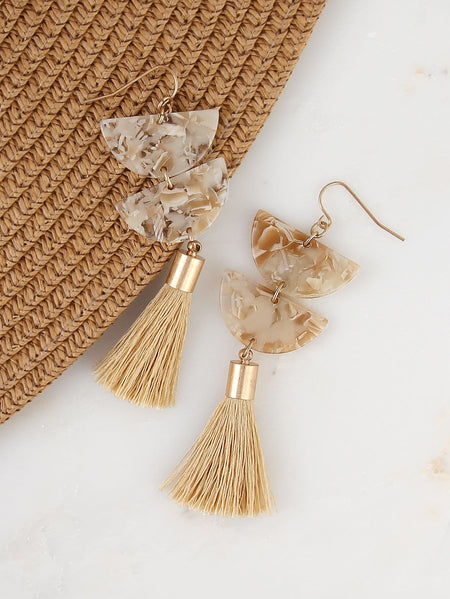 Marble Detail Tassel Earrings