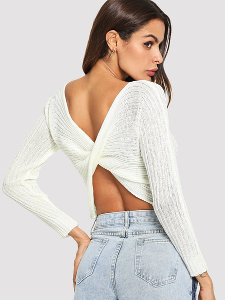 Solid Twist Back Sweater