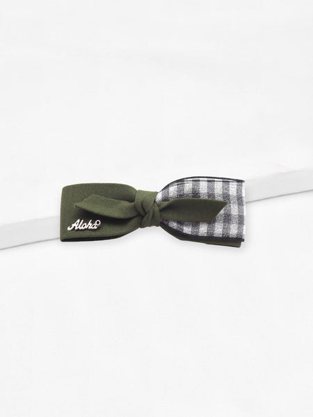 Gingham Bow Shaped Hair Clip