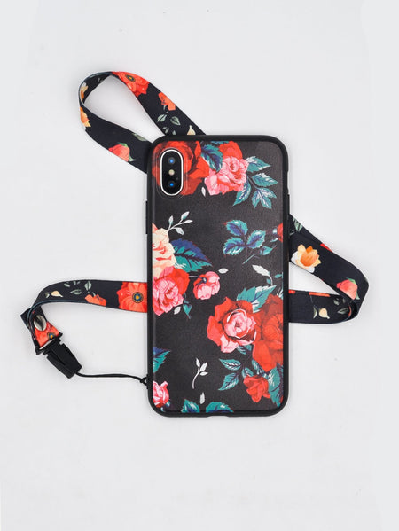 Flower Print iPhone Case With Lanyard
