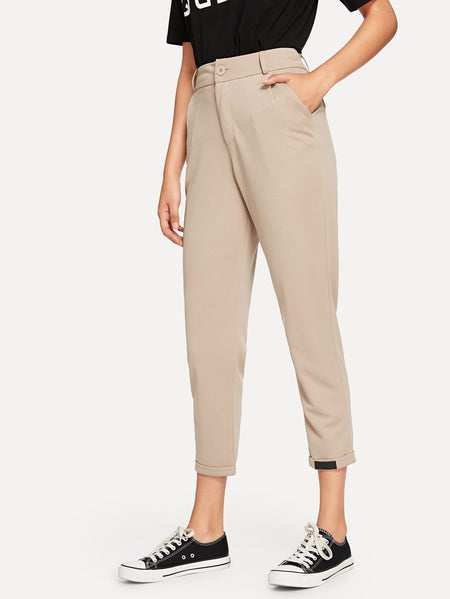 Rolled Hem Solid Pants
